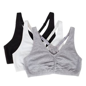 Fruit of the Loom 3 Pack Shirred Racerback Sports Bras